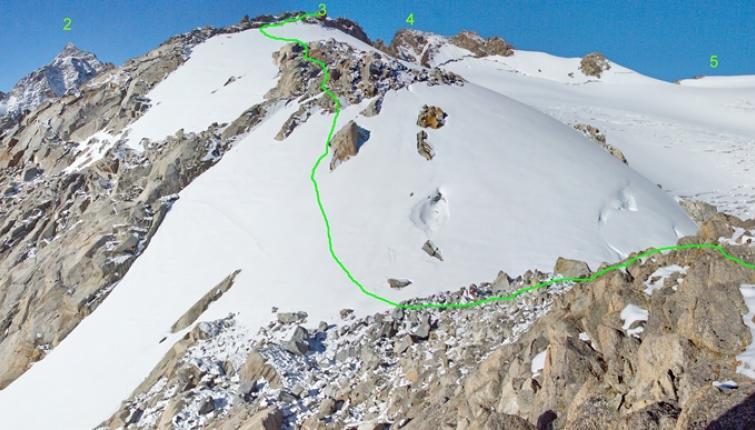 Über das Gletscherfeld sollte unbedingt im Bereich der eingezeichneten Linie auf und abgestiegen weden! 1 Nördliche Wildgratspitze 2 Schrandele 3 Vorderer Wild Turm 4 Hinterer Wilde Turm 5 Wildes Hinterbergl 6 Vom Aperen Turm kommend!