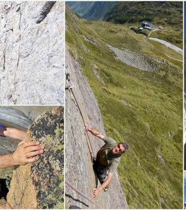Klettern auf der Franz Senn Hütte. Klettergärten, mit Bohrhaken versicherte Mehrseillängenrouten sowie alpine Klassiker wie Schrandele Ostgrat gibt es im Bereich der Hütte.