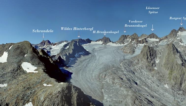 Blick vom Gipfel des Blerchnetrkamms! Wegloser sehr anspruchsvoller Anstieg! NUR FÜR ERFAHRENE BERGSTEIGER !!!