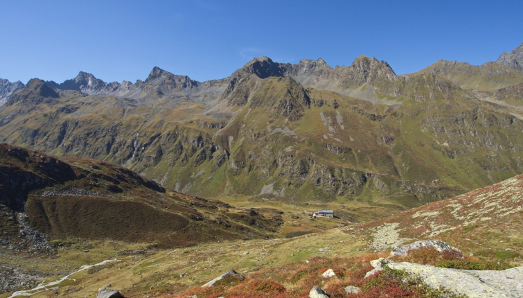 Blick aus dem Stiergschwez auf Rinnenspitze, Kreuzkamp und Schafgrübler