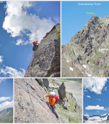 Kreiuzkamp Ostgrat- alpine Kletterroute überwiegend mit Bohrkaken abgesichert !