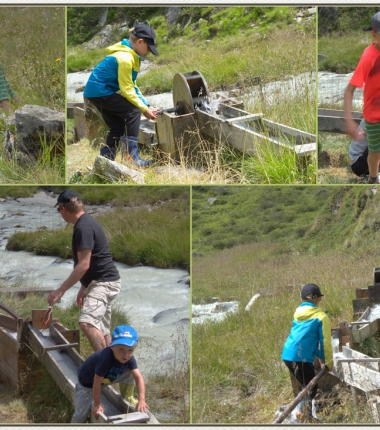 Immer gefragt bei Kindern-spielen mit den Wasserrädern beim Gschwezbach .