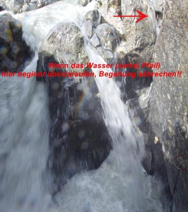 Im Hexenkessel ist auf die Höhe des Wasserstandes zu achten!